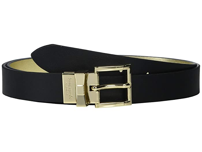Kate Spade New York 25 mm Reversible Belt (Black/Gold) Women