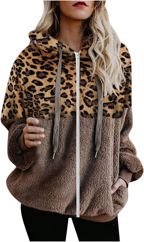 Pottseth Womens Fashion Winter Coat Sweatshirt,Leopard Patchwork Zipper Shaggy Fuzzy Hooded Cardigan Jacket Outwear Coat