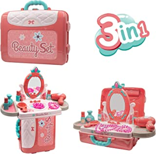 QEQEQE Kids Makeup Kit for Girls Vanity Table with Mirror Pretend Play Makeup Toys Hair Dryer Jewellery Set Lipstick Beaut...