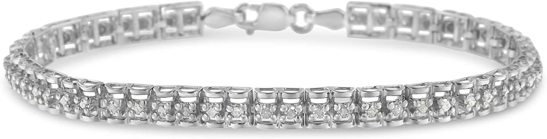 .925 Sterling Silver 1.0 Cttw Ultra-Cheap Deals Rose Double-Link Te Diamond Cut 7