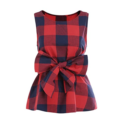 d40b4dab820482 WDIRA Women s Sleeveless Belted Checkered Shell Top Blouse