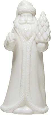 "Creative Co-Op 2-3/4""L x 2-1/2""W x 5-3/4""H Stoneware Santa, White Figures and Figurines, Multi"