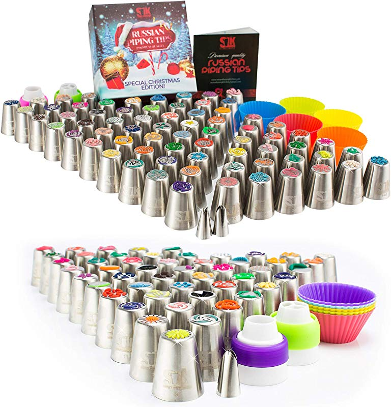 Russian Piping Tips 120 Nozzles 3 Leaf Tips 2 Single Couplers 2 X 3 Color Couplers 5 Cleaning Brushes 60 Pastry Bags Silicone Bags 10 Silicone Cups Plastic Scissors Frosting Bags And Tips