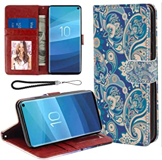 Paisley Authentic Asian Inspired Floral Persian Fashion Boho Art Illustration Print Teal Navy and Tan Print Leather Case Compatible for Samsung Galaxy S10e (2019) 5.8 Inch with Coin Slot Case