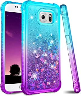 Ruky Galaxy S6 Case, Gradient Quicksand Series Glitter Bling Flowing Liquid Floating Soft TPU Bumper Cushion Protective Women Girls Phone Case for Samsung Galaxy S6 (Teal Purple)