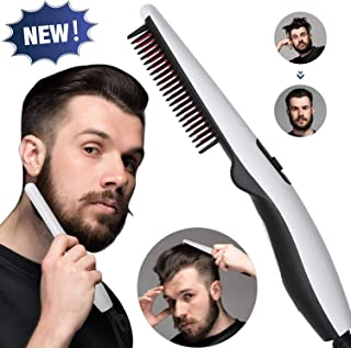 UNIK BRAND™ Beard and Hair Straightening Brush Electric Comb for Men with Side Hair Detangling, Curly Hair Straightening for Beard Style, Hair Style, Women Short Hair Straightening