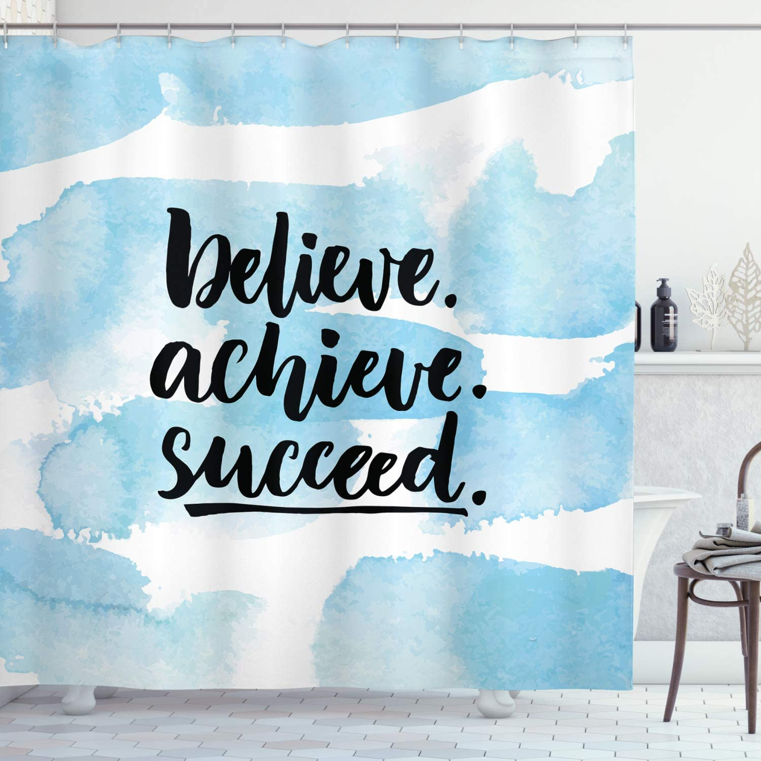 Ambesonne Inspirational Saying Shower Believe Curtain Sales Year-end annual account Achieve S