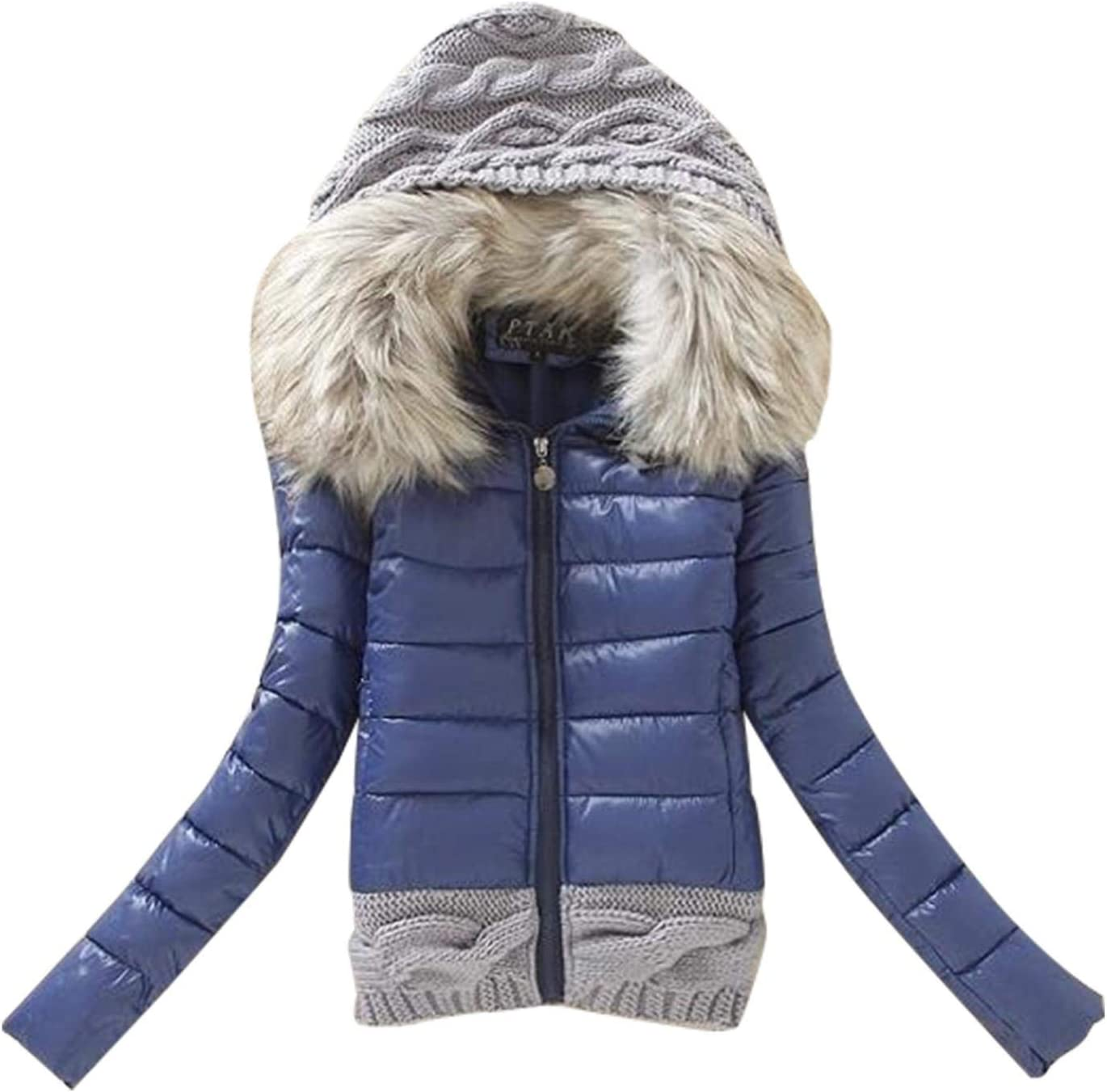 Women's Thick Winter Slim Coat Hooded Faux Fur Collar Fashion Solid Color Patchwork Casual Zip Up Outwear