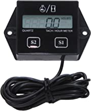 Timorn Tachometer for Small Engine,Inductive Hour Meter for 2 Stroke & 4 Stroke Small Engine, Replaceable Battery Waterproof Tachometer for Chainsaw Marine ATV Motorcycle UTV Engine (Black)