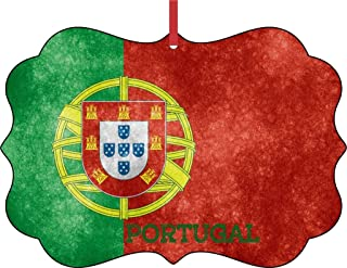 Rosie Parker Inc. Portugal Grunge Flag-Double-Sided Benelux Shaped Flat Aluminum Christmas Holiday Hanging Tree Ornament with a Red Satin Ribbon. Made in The USA!
