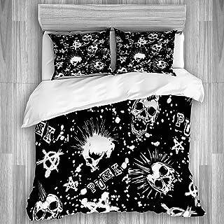 Juego de funda nórdica de 3 piezas, calavera punk blanca abstracta con pelo mohawk y fondo de grunge punk con inscripción de anarquía, colcha con cremallera para dormitorio con 2 fundas de almohada