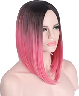 Short Wig Pink Red Hairs Synthetic Wigs for Women with Free Wig Cap Anxin Bob Wig Middle Part Full Head (28CM, Ombre Red)