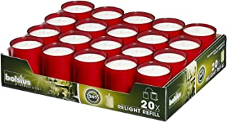 Bolsius Set Of 20 Relight Party Restaurant Votive Candles In Red Cup Burns Aprox. 24 Hour