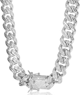 TRIPOD JEWELRY 18mm Iced Out Baguette Cuban Link Chain or Bracelet - Hip Hop Gold Chains 18K or White Gold Plated Miami Cu...