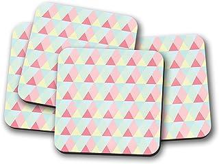 Posavasos con diseño de triángulo azul claro, rosa y limón, posavasos individuales o juego de 4