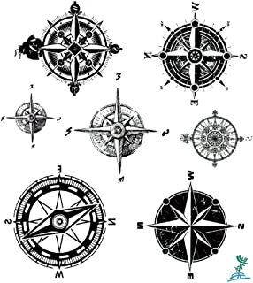 Ymeeech Temporary Tattoos for Men Women Compass Directions Black Grey Small Waterproof Halloween Valentines Couple Body Art