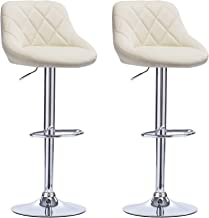 WOLTU Bar Stools Cream Bar Chairs Breakfast Dining Stools for Kitchen Island Counter Bar Stools Set of 2 pcs Leatherette Exterior/Adjustable Swivel Gas Lift/Chrome Steel Footrest & Base