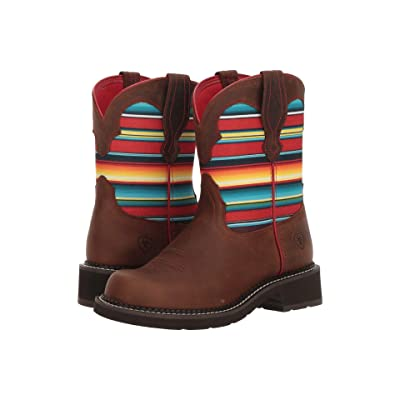 Ariat Fatbaby Heritage Twill (Distressed Brown/Serape Print) Cowboy Boots