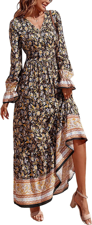 PRETTYGARDEN Long Sleeve Maxi Dress for Women - V Neck Casual Button Down Boho Floral Print Fall Long Dresses