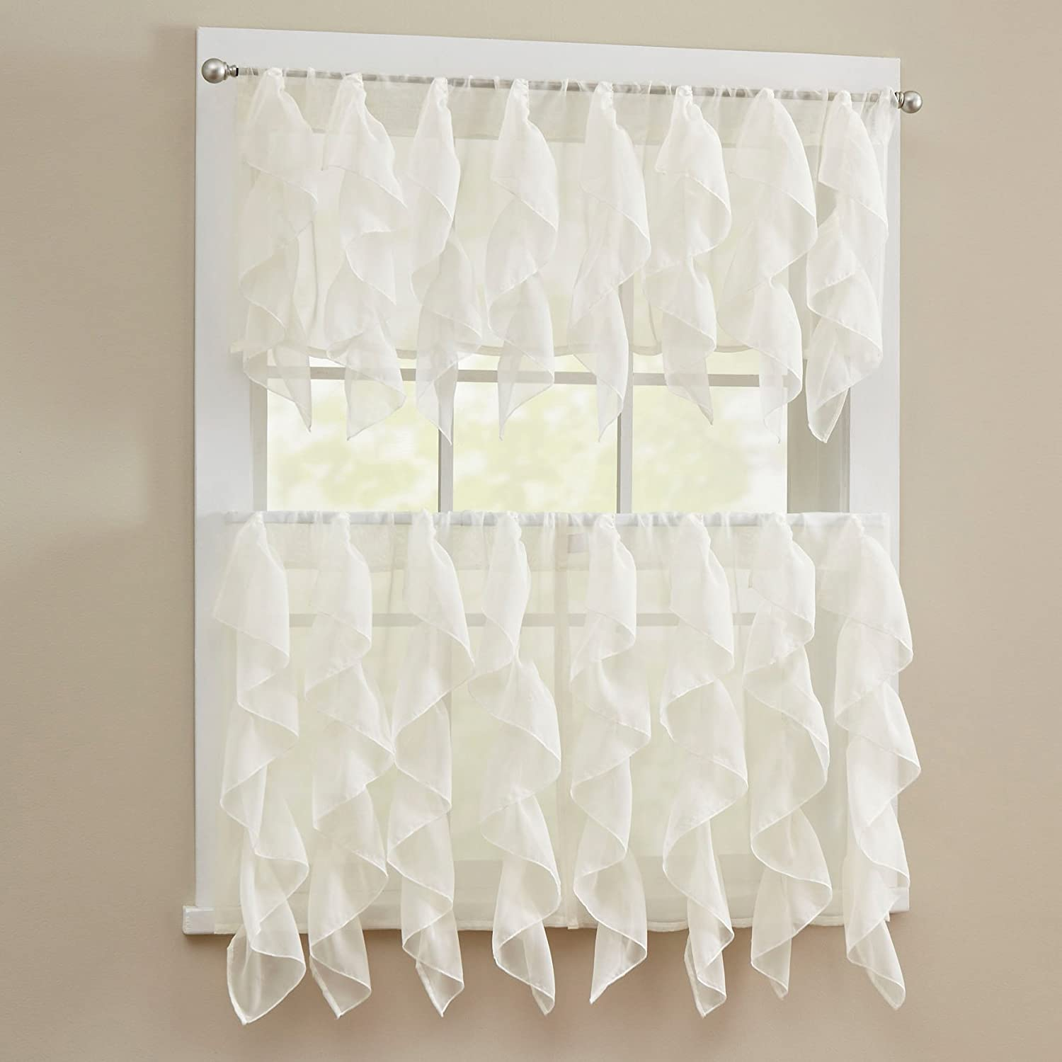 Sweet Home Collection 5 Pc Kitchen Curtain Set, Swag, Valance, Choice of 24 Sheer Ivory, 36  Tier Pair,