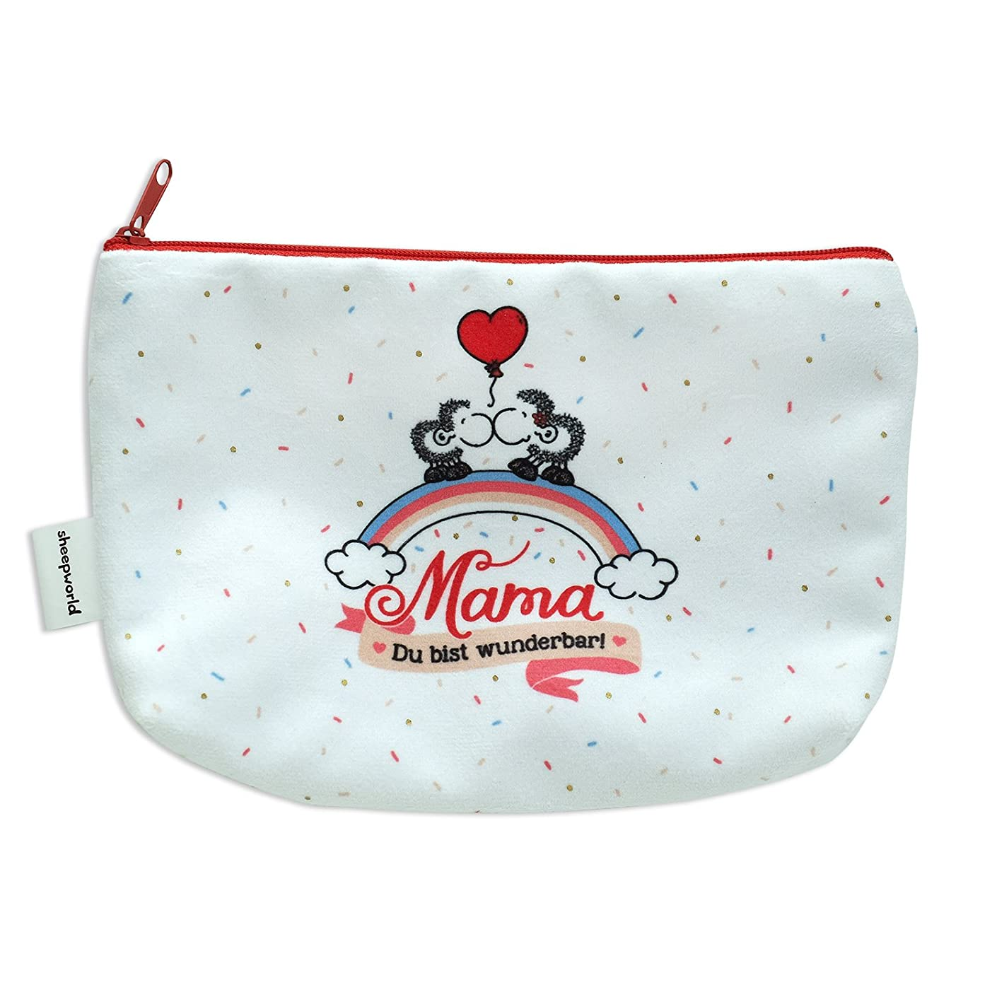 Sheepworld 45237?Plush Pencil Case?–?with Mum You're Lovely Black Zip Up Pencil Case, Polyester, Multi-Coloured, 20?x 12?x 4?cm