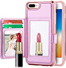 iPhone 8 Plus Case iPhone 7 Plus Wallet Case, UrbanDrama Glitter Shiny Faux Leather Credit 2 Card Slots Cash Holder Protective Case for Apple iPhone 7 Plus iPhone 8 Plus 5.5 inch, Rose Gold