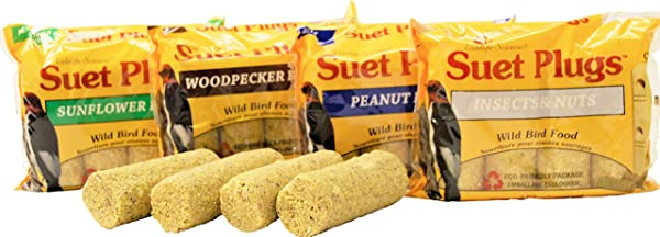 Wildlife Sciences Suet Plugs Variety 16 Pack 4 Wrapped 4 Packs 12 Ounces Each