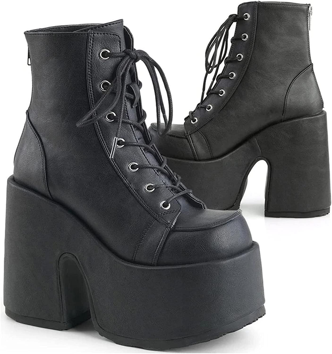 SaraIris Women's Platform Boots Punk Gothic Boots Lace Up Ankle Boots Chain Studded Knight Platform Wedge Boots