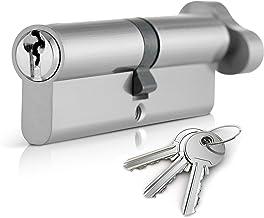 XFORT® Cerradura de cilindro europeo de giro de pulgar 35T/55 (90mm), cerradura de barril para puerta europea con 3 llaves, anti-golpe, anti-taladro, alta seguridad para todos los tipos de puerta.