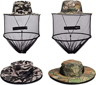 VIPITH 2 Pack Mosquito Head Net Hat Sun Hat Bucket Hat with Hidden Net Mesh Mask Protection from Insect Bug Bee Mosquito G...