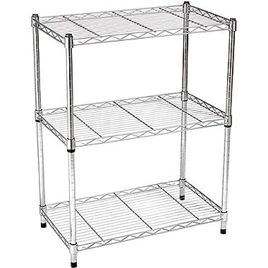 AmazonBasics 3-Shelf Adjustable, Heavy Duty Storage Shelving Unit (250 lbs loading capacity per shelf), Steel Organizer Wire Rack, Chrome (23.3L x 13.4W x 30H)
