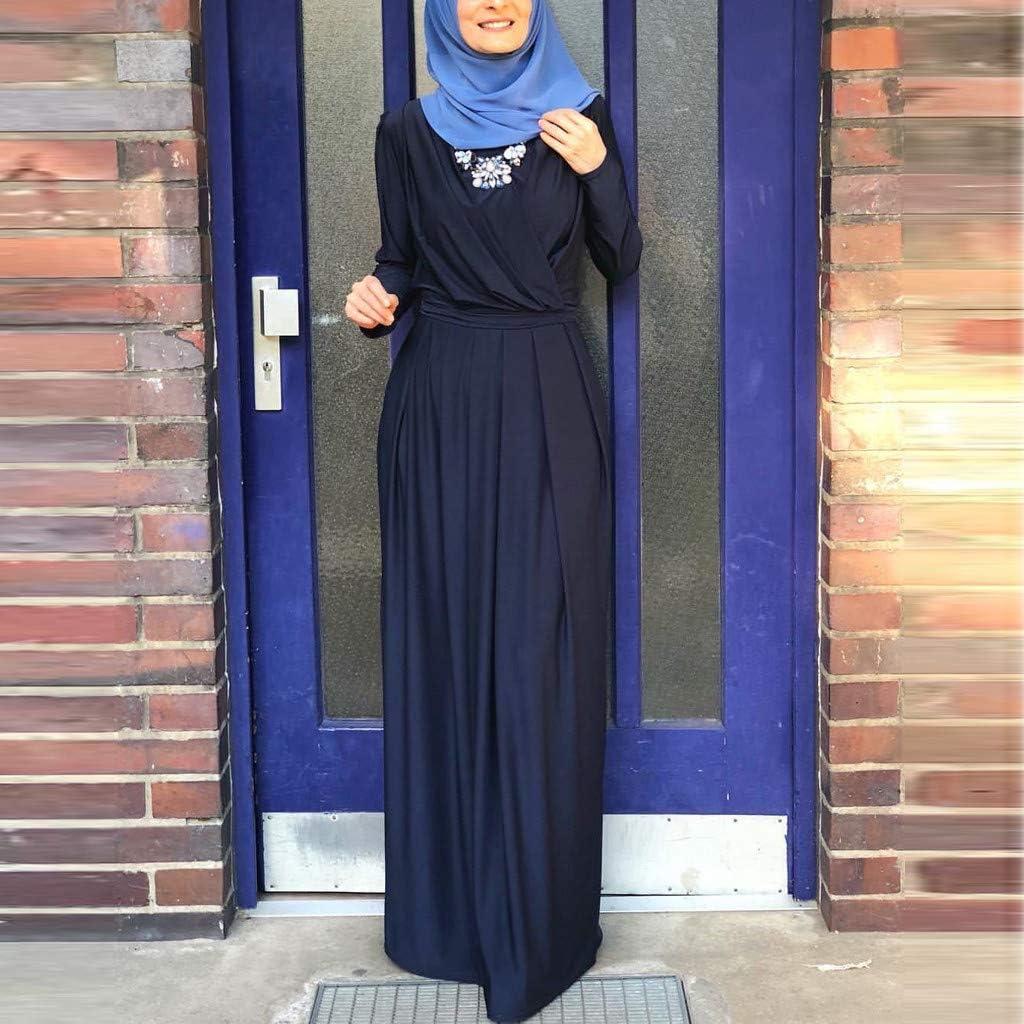 WUDUBE Mode Frauen Moslemische Robe, Indische Plissiertes Kragen Indische Frauen Muslimisches Kleid Elegantes Kleid Lose Blau