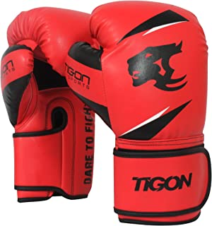 Tigon Sports Leather Boxing Gloves UFC Muay Fight Punch Bag Thai Grappling Kick MMA Training