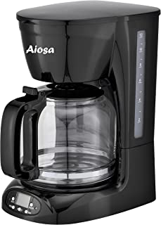 Aiosa 1.8L 60oz,12Cups Programmable Coffee Maker,Auto Keep Warm System,Smart Anti-Drip Function,Compatible With Ground Cof...