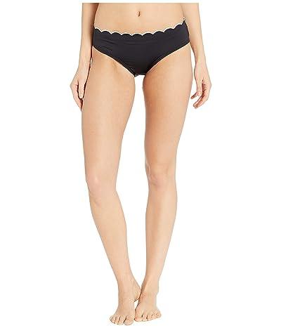Kate Spade New York Fort Tilden Contrast Scalloped Hipster Bikini Bottoms (Black) Women