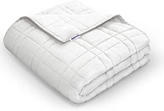 Nuzzie Weighted Blanket - 8lbs Twin/Full 41x60 for Kids, Teens, and Adult - 100% Cotton with Premium Hypoallergenic Glass Beads - Modern Design with Double Stitching - Designed in USA - White