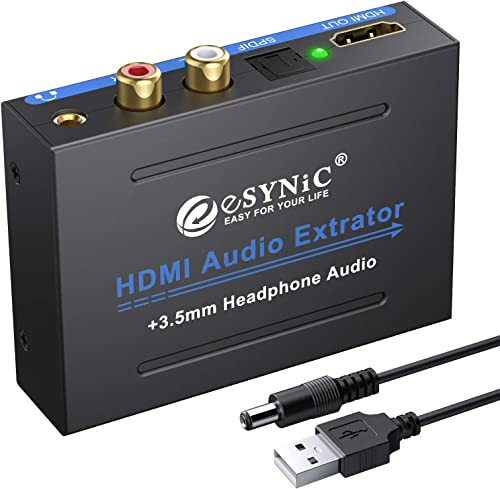 eSynic 1080P HDMI Audio Extractor HDMI to HDMI + Optical TOSLINK SPDIF + Analog RCA L/R +3.5mm Jack Stereo Audio Vide...