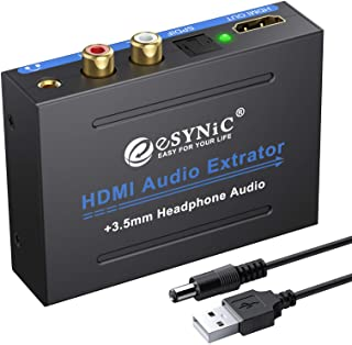 eSynic 1080P HDMI Audio Extractor HDMI to HDMI + Optical TOSLINK SPDIF + Analog RCA L/R +3.5mm Jack Stereo Audio Video Spl...