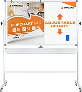 Mobile Whiteboard - Large Adjustable Height 360° Reversible Double Sided Dry Erase Board - Magnetic White Board on Wheels - Portable Rolling Easel with Stand, Flip Chart Holders, Paper Pad | 70x36