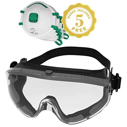 e4db257957 Safety Goggles Fits Over Prescription Glasses Clear Anti Fog Anti Scratch  Impact Splash Proof For