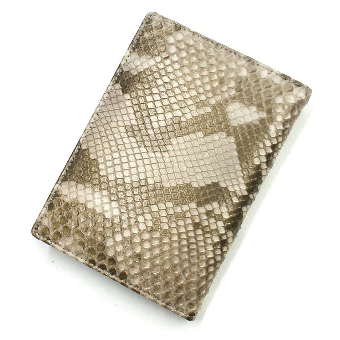 大胆お母さん糸BR1165 蛇革 二つ折りカード入れ L.size カードケース 本革カードケース カードホルダー 薄型カード入れ 大容量 大量収納 パスポートサイズ L.size ブロンズ