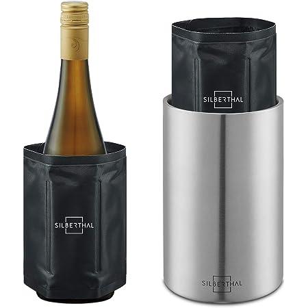 SILBERTHAL Seau À Vin en INOX avec 2 Manchons Refroidisseurs - sans Glace Et Glaçons - Rafraîchisseur de Bouteille Vin/Eau/Alcool en Acier Inoxydable - Maintien Au Frais