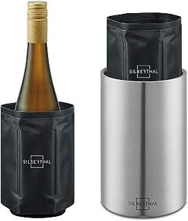 SILBERTHAL Seau À Vin en INOX avec 2 Manchons Refroidisseurs - sans Glace Et Glaçons - Rafraîchisseur de Bouteille Vin/Ea...