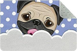 Doormat Custom Indoor Welcome Door Mat, Cute Pug Dog Home Decorative Entry Rug Garden/Kitchen/Bedroom Mat Non-Slip Rubber ...