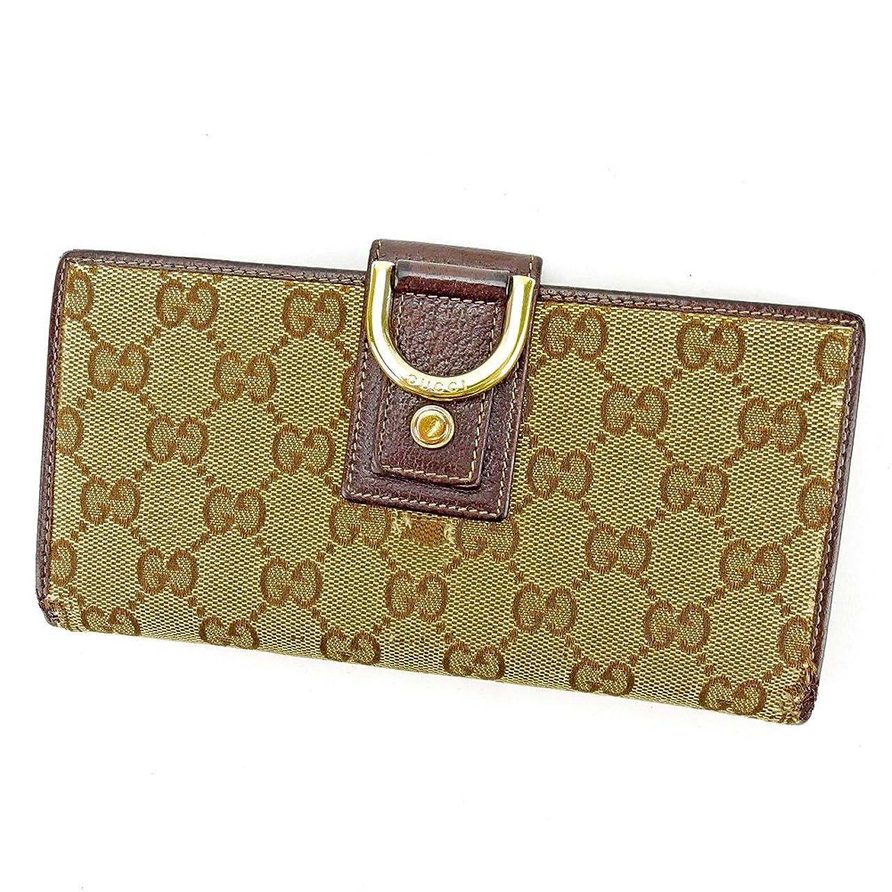 開梱平行教養がある(グッチ) Gucci 長財布 ファスナー付き 財布 ベージュ×ブラウン×ゴールド アビー GGキャンバス レディース メンズ 可 中古 S620