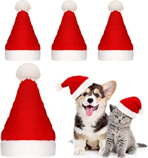 SATINIOR 4 Pieces Dog Santa Hat Christmas Pet Hats Pet Costumes for Dogs Cats Christmas Supplies