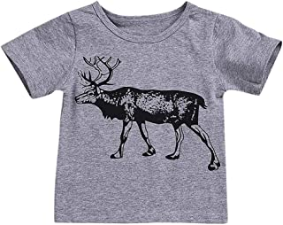 1f68cec0a5 Lurryly❤Children Kid Infant Girls Boys Deer Animal Print Tops T-Shirt  Casaul Clothes