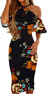 Womens Dresses Summer Off The Shoulder Ruffle Floral Print Bodycon Midi Dress