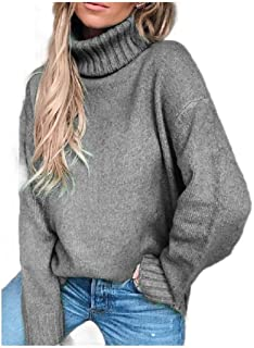 neveraway Womens Turtleneck Plain Plus-Size Fall Winter Pullover Shirts Tops