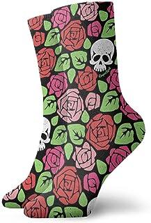Calcetines deportivos para hombre, para mujer, deportivos, rojos, rosa, rosa, calavera, divertidos y transpirables, de poliéster, de 11.8 pulgadas (30 cm)